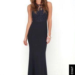 Lulu's Oak and Elm Navy Blue Lace Maxi Dress